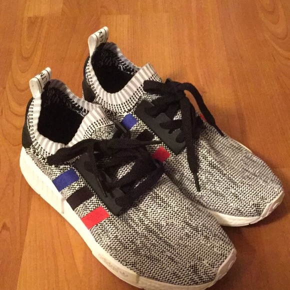 online store 8260c 0722a Adidas NMD R1 Tri-Color Stripes White Shoes